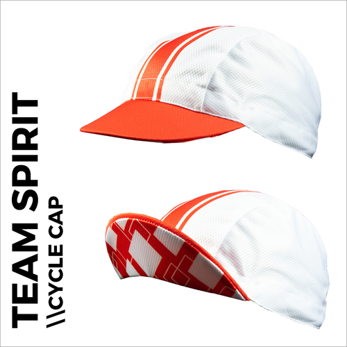 Team spirit red custom cycle cap , showing front peak and plain white print areas for sublimation full colour printing. Quick 5-7 day turn around on custom printing.
