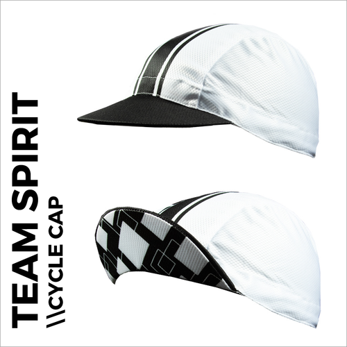 Team spirit black custom cycle cap , showing front peak and plain white print areas for sublimation full colour printing. Quick 5-7 day turn around on custom printing.