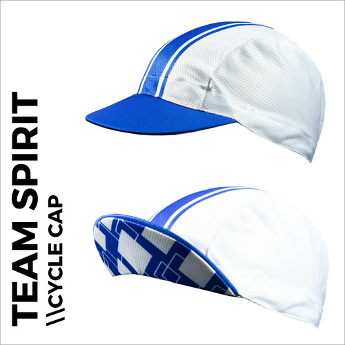Team spirit blue custom cycle cap , showing front peak and plain white print areas for sublimation full colour printing. Quick 5-7 day turn around on custom printing.