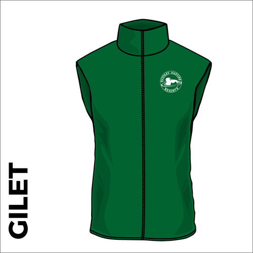 Rodley Nature reserve fleece gilet with embroidered club badge in green