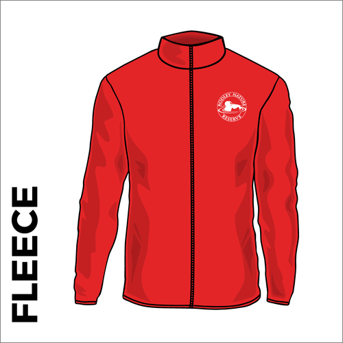 Rodley Nature reserve mens fleece with embroidered club badge in red
