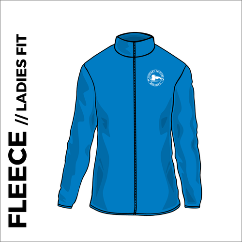 Rodley Nature reserve ladies fleece with embroidered club badge in oxford blue