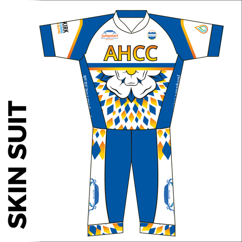 Custom cycle skin suit front showing club custom design, silicon leg gripper and 4 way stretch lycra.