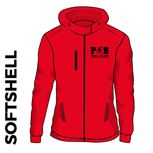 Pudsey and Bramley AC hooded softshell athletics jacket, back view with club badge on left chest