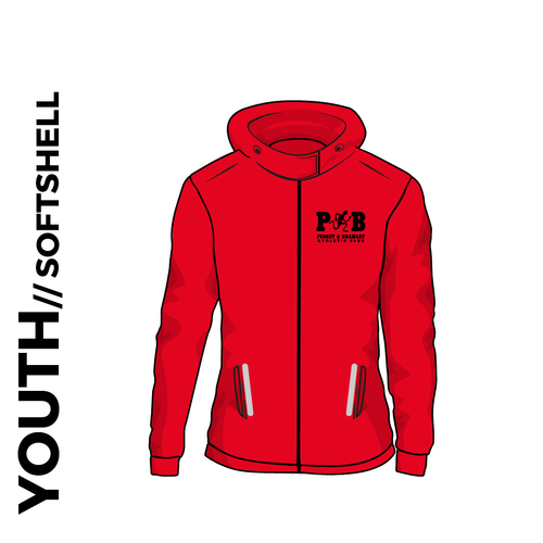 Pudsey and Bramley AC youth hooded softshell athletics jacket, back view with club badge on left chest