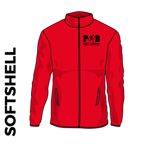 Pudsey and Bramley AC softshell athletics jacket, back view with club badge on left chest