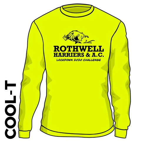Rothwell Harriers flo yellow lockdown challenge Long Sleeve athletics Cool T-Shirt front image