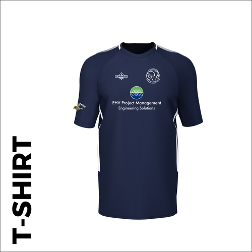 Farsley CC custom cricket training T-shirt with embroidered club badge