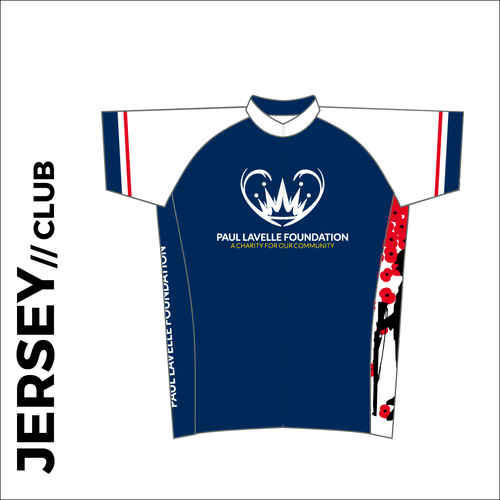 PLF Wirral to Somme event short sleeve custom cycle jersey club design in full sublimation print. Front picture showing full length hidden SBS zip, high collar for comfort fit and silicon gripper at hem.