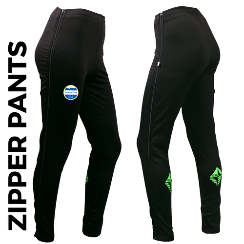 Zipper warm up pant with full length side zip and printed club badge on right thigh