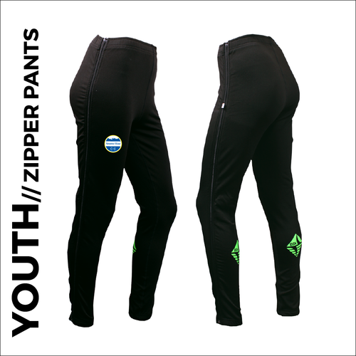 YOUTH Zipper warm up pant with full length side zip and club badge on right thigh