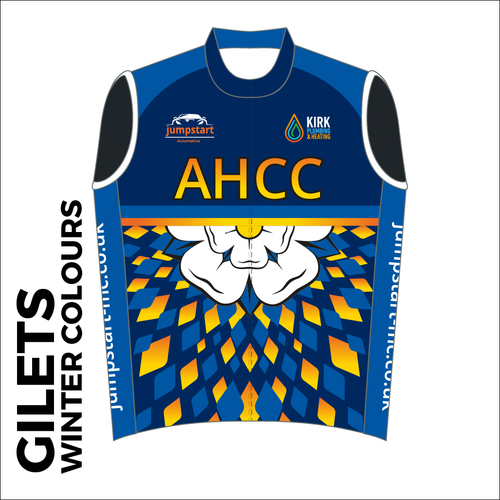 Custom club cycle gilet design in full winter colours sublimation print. Front picture showing full length hidden SBS zip, wind-blocker and silicon gripper at hem.