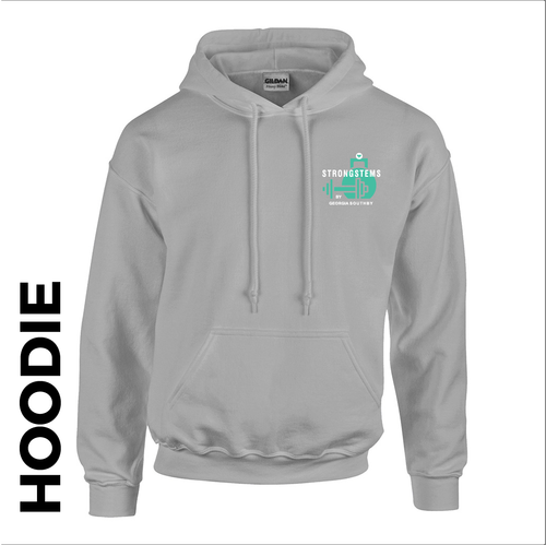 StrongStems grey hooded top front with embroidered club logo on left chest