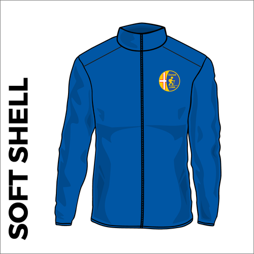 Dorset LDWA Soft Shell Jacket with embroidered club badge on left chest - royal blue