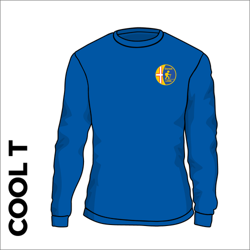 royal long sleeve Cool-T, moisture wicking with embroidered left chest badge