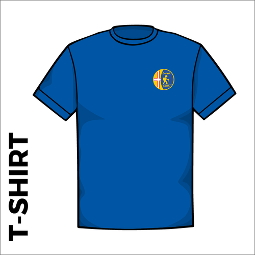 Front of Dorset LDWA official Cotton T-Shirt. embroidered club badge on left chest.