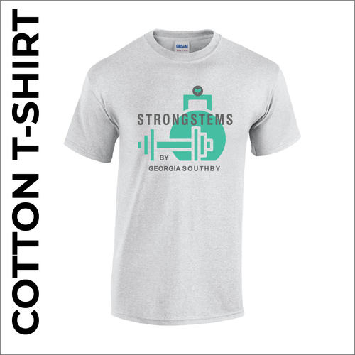 Strong stems Grey T-shirt with printed badge on front