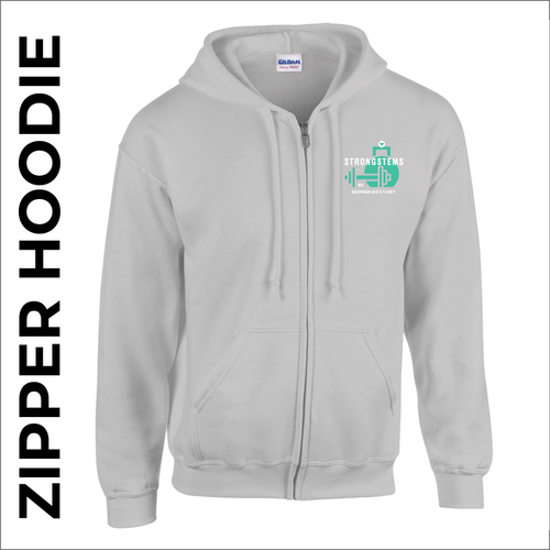 StrongStems grey zipped hooded top front with embroidered club logo on left chest