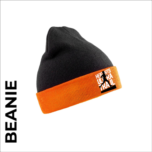HUT turn up beanie with embroidered event logo on the front.