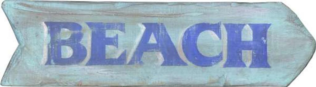 Blue Beach Arrow Distressed Sign
