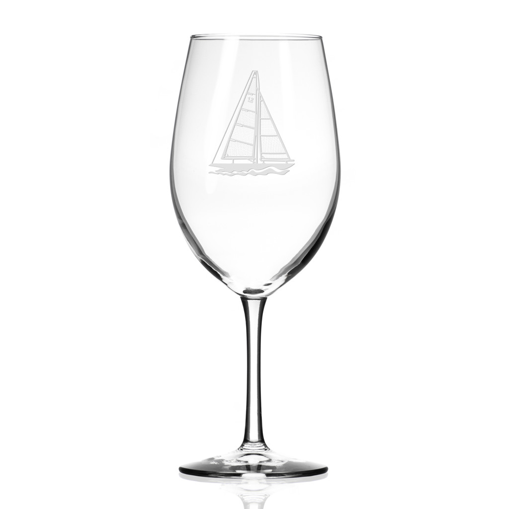 Sailboat Etched Large Wine Glasses - Single image