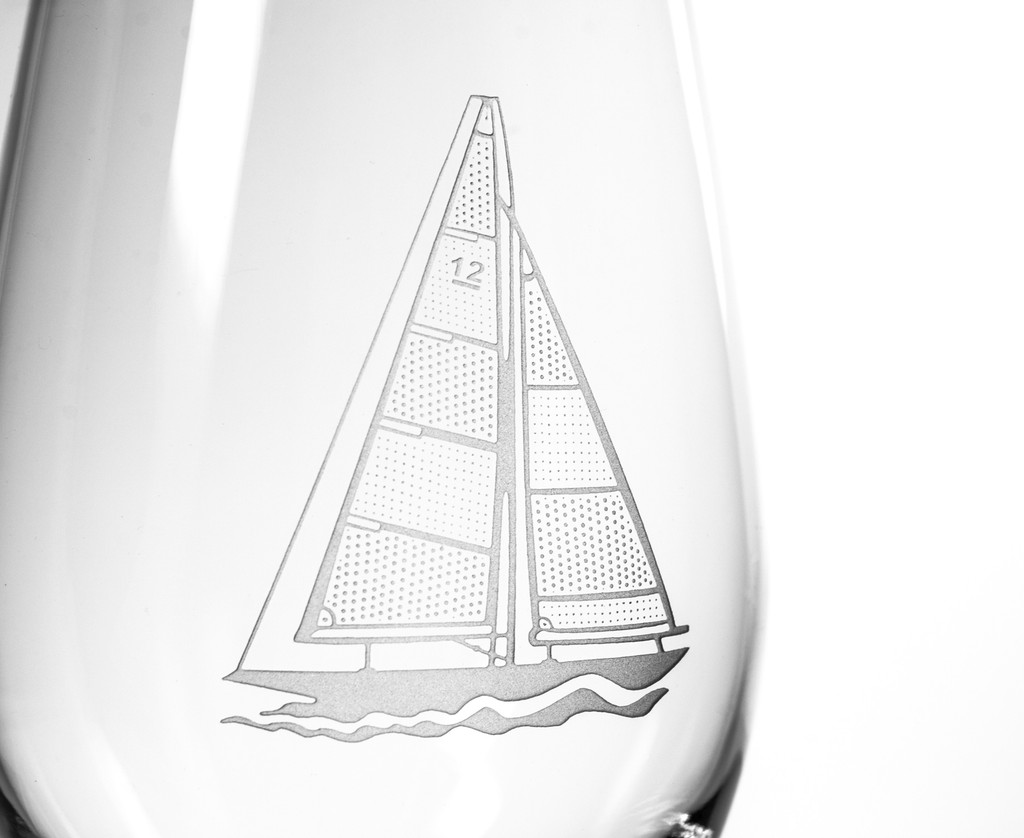 Sailboat Etched Large Wine Glasses - Set of 4 details