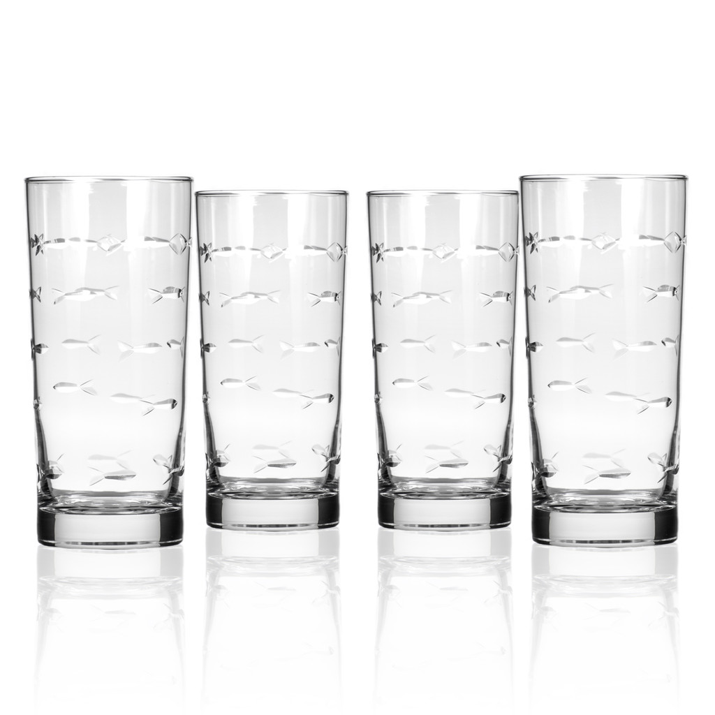 School of Fish Tall Cooler Glassware - Set of 4 group shot