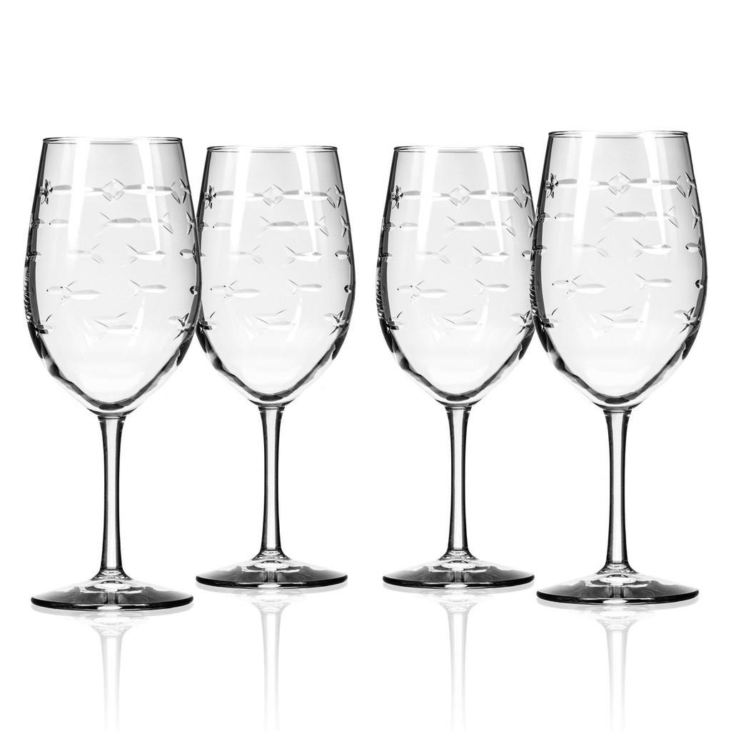 School of Fish Large Wine Goblets - Set of 4 group shot