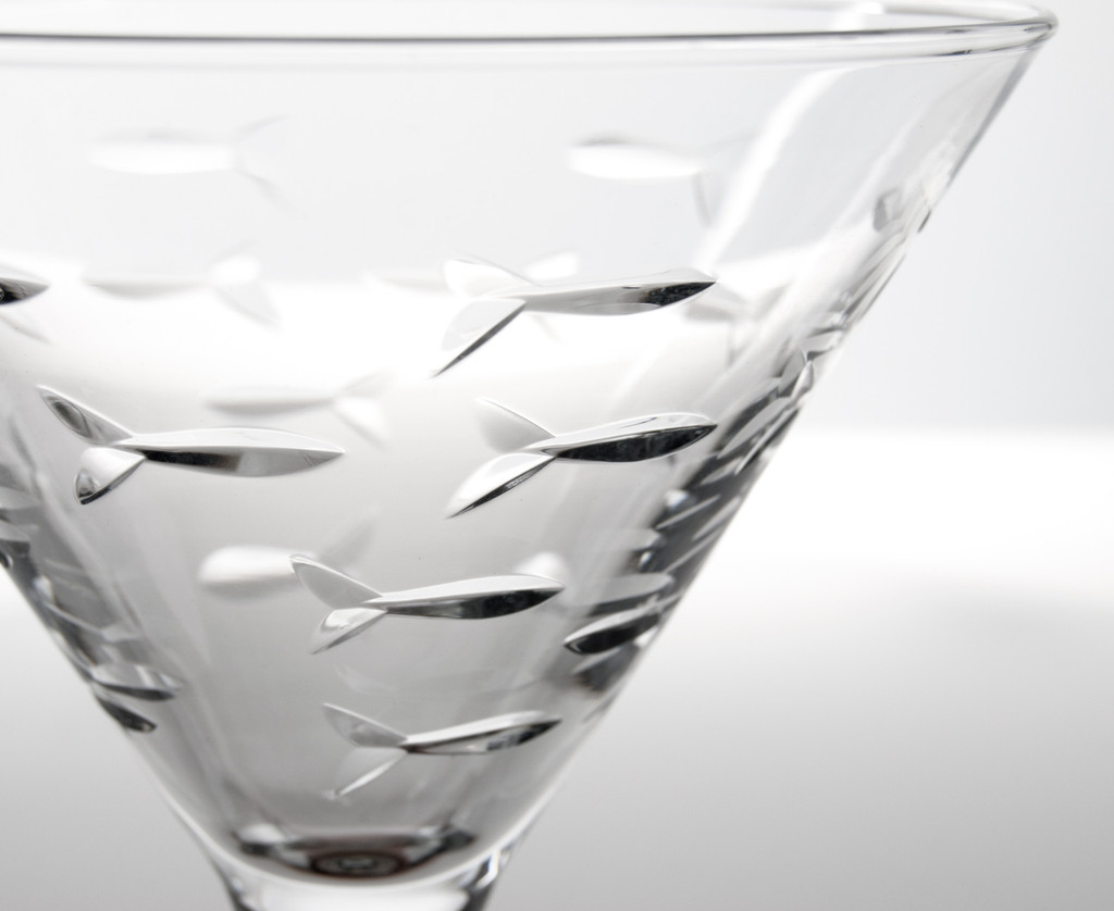 School of Fish Martini Glassware - Set of 4 close up