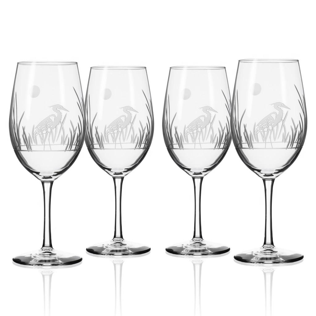 Heron Etched Wine Glasses - Set of 4
