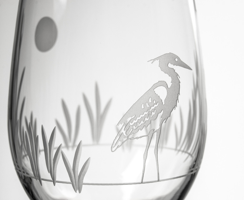 Heron Etched Wine Glasses- Set of 4 close up