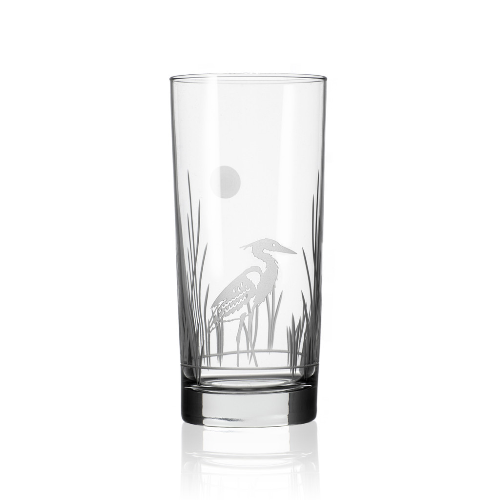 Heron Etched Cooler Glass- Set of 4