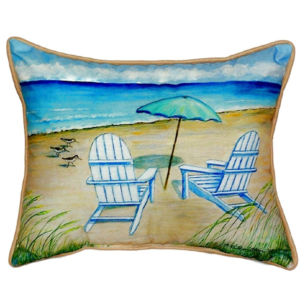 Beach Chairs and Umbrella Cottage Pillow