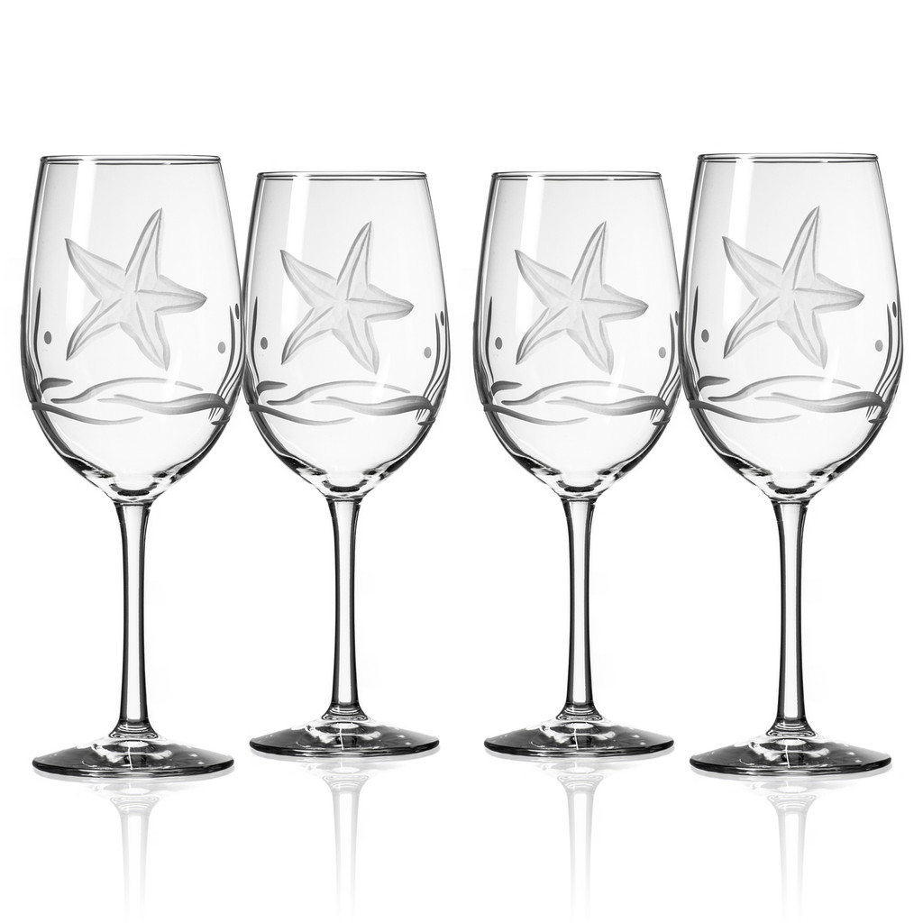 Starfish Etched Large Wine Goblets - Set of 4
