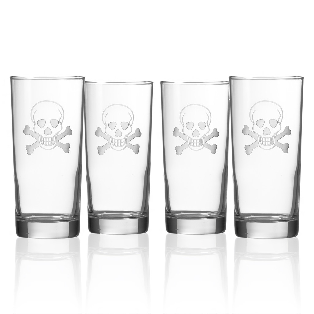 Skull and Cross Bones Cooler Glasses - Set of 4