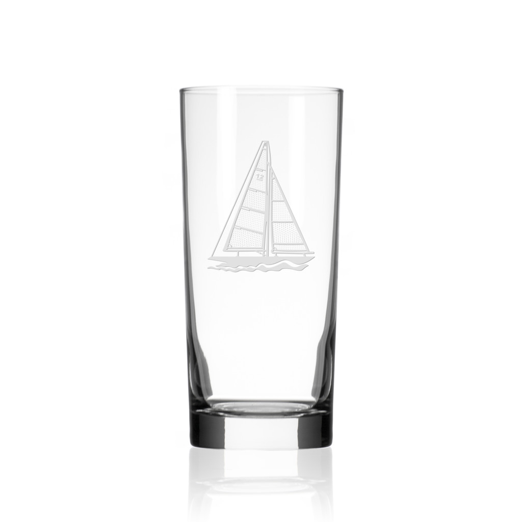 Sailboat Etched Cooler Glasses - single image