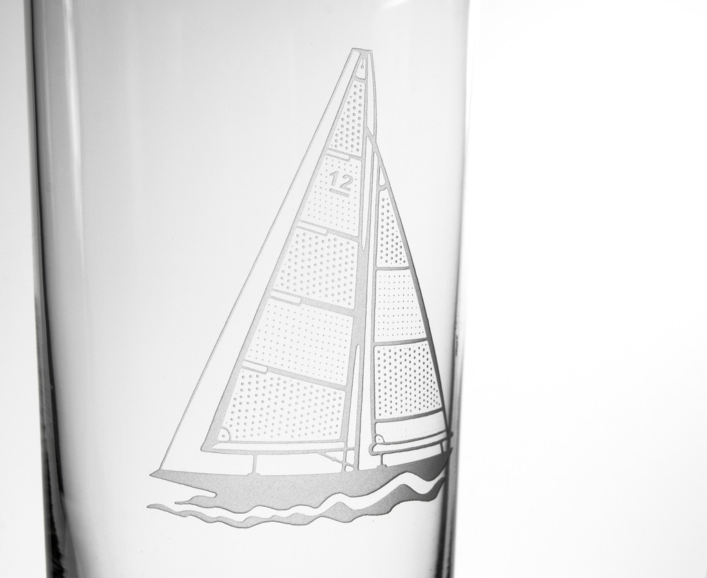 Sailboat Etched Cooler Glasses - Set of 4 close up details