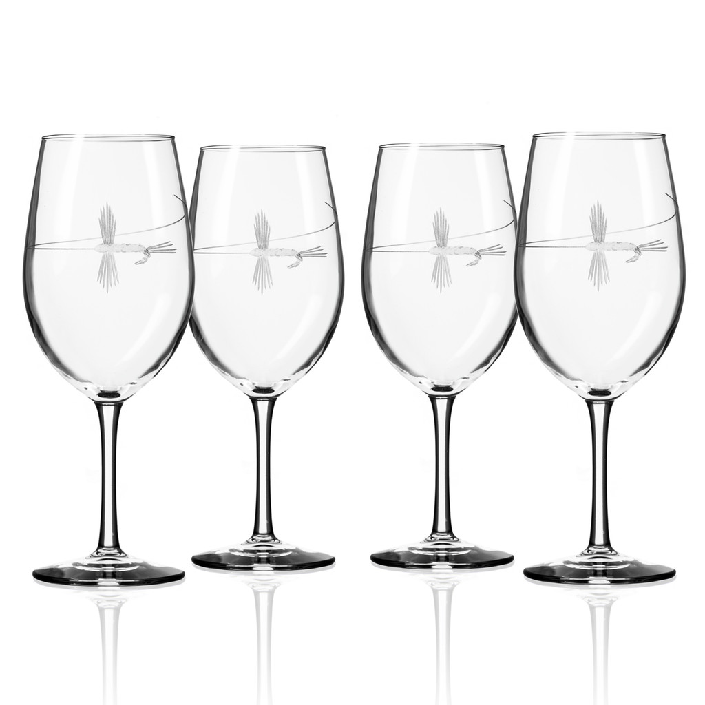 Fly Fishing Etched Wine Glasses - Set of 4
