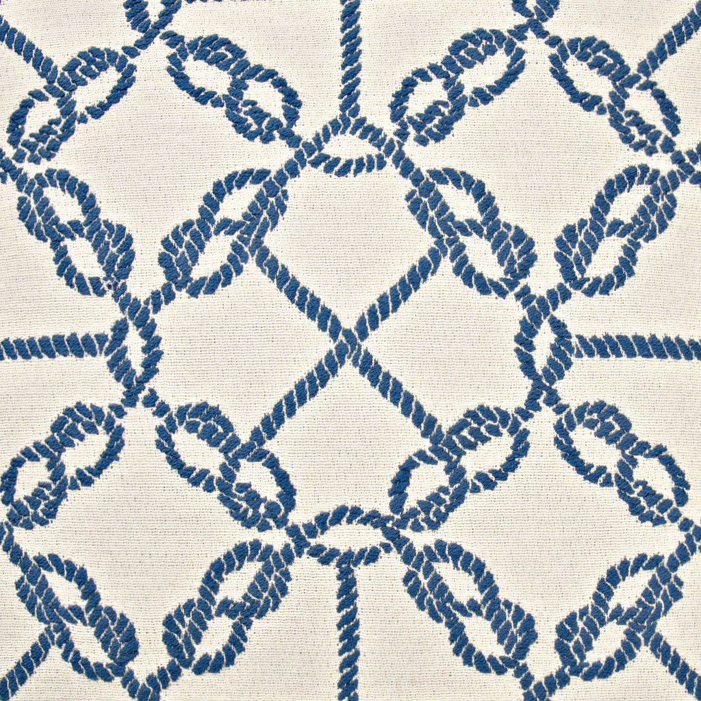 Circle Knots Luxury Nautical Pillow - Blue fabric close up