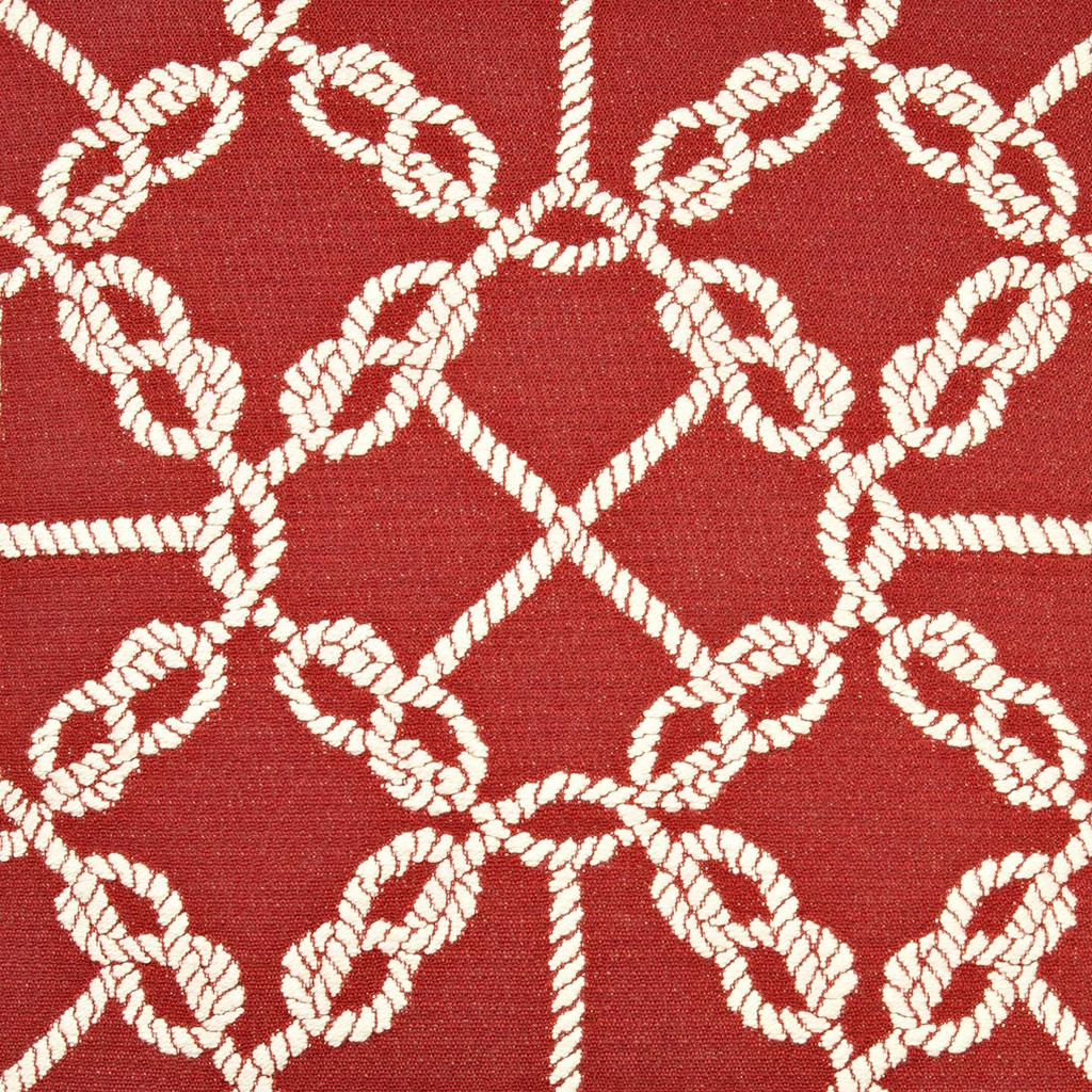 Circle Knots Luxury Nautical Pillow - Red fabric close up