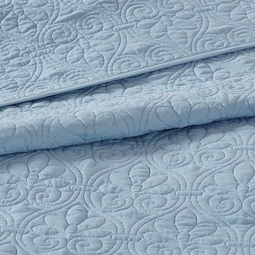 Hudson Bay Blue Quilted Coverlet Queen Size Set quilt close up