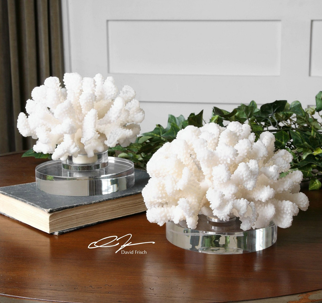 Island Coral on Round Crystal Base - Set of 2