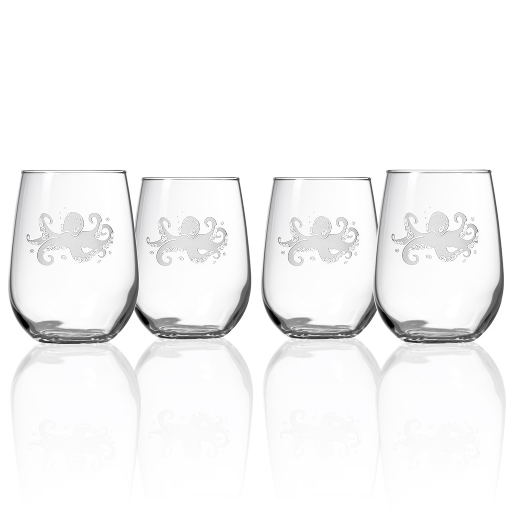 Octopus Etched Stemless Wine Tumblers - Set of 4