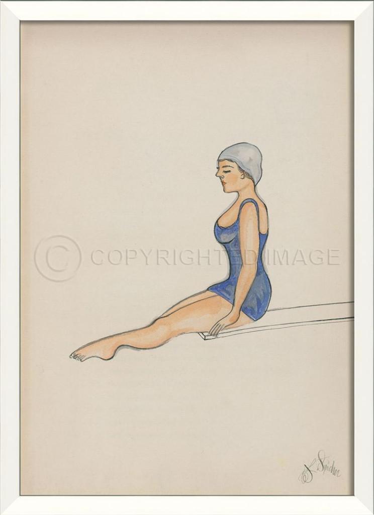 Diver In Blue Swimsuit Framed Wall Art