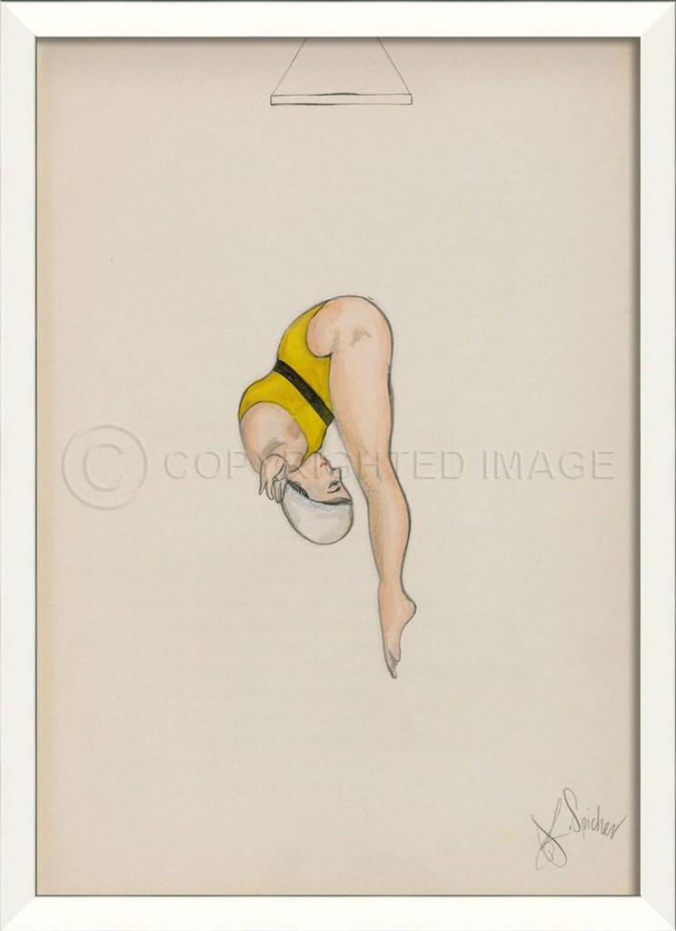 Diver In Yellow Framed Wall Art