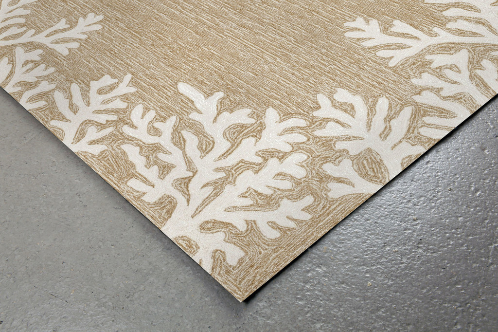 Coral Bordered Beige Area Rug corner image