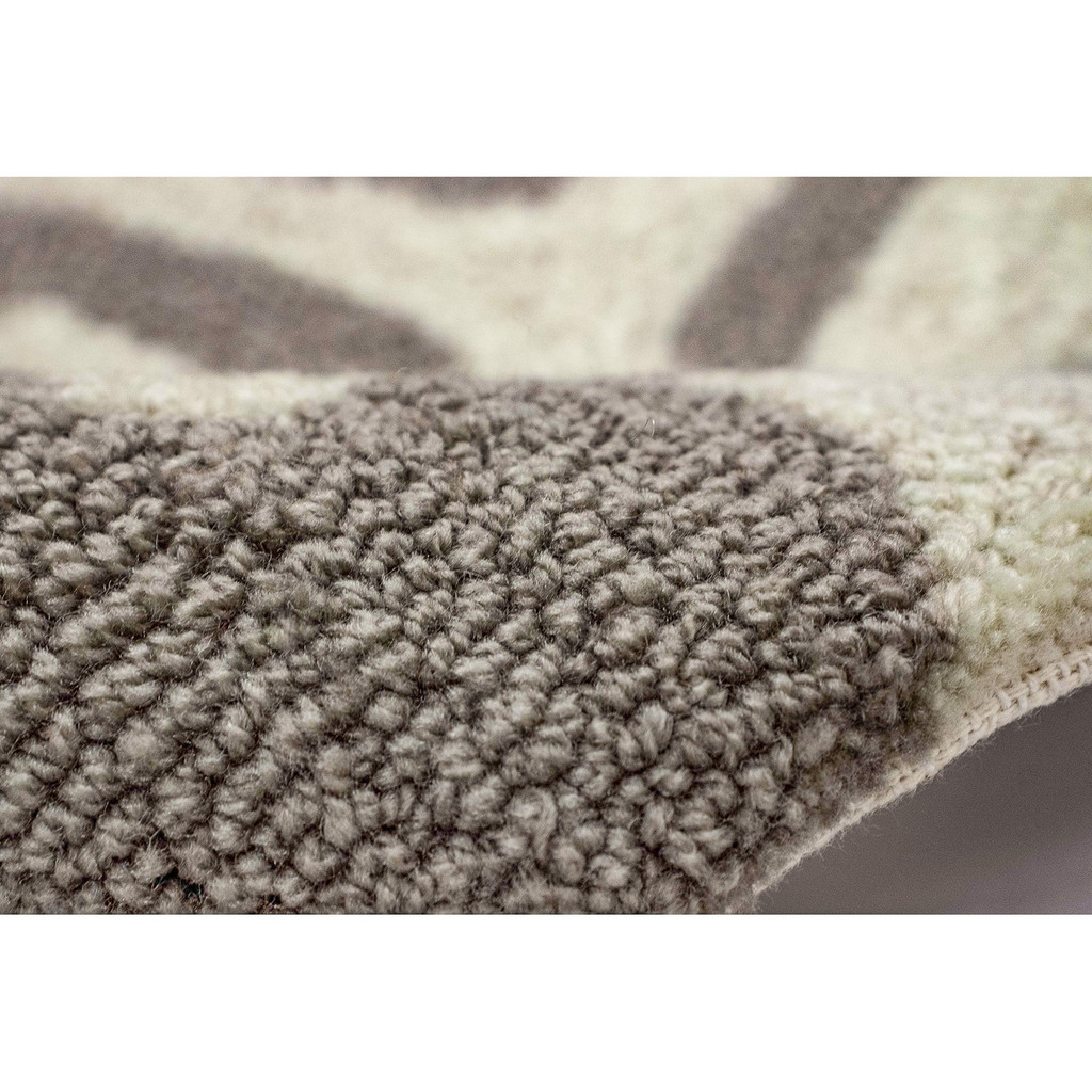 Coral Bordered Silver-Grey Area Rug pile image