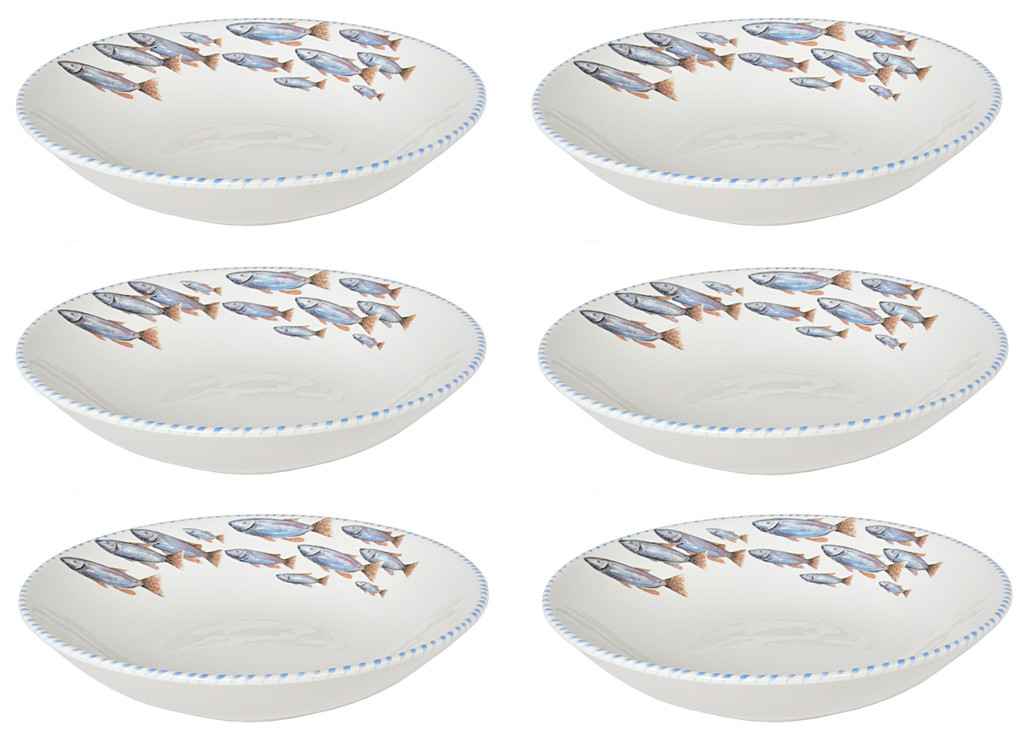 Blue School of Pasta Bowls - Set of 6