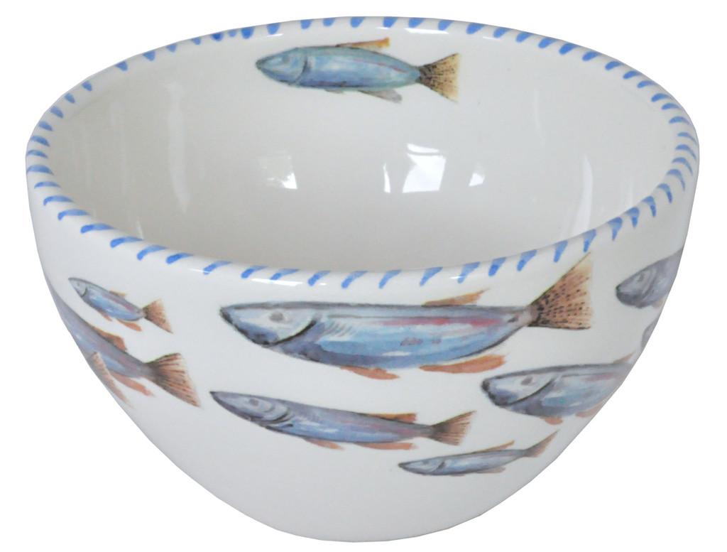 Blue School of Fish Soup Bowls - set of 6