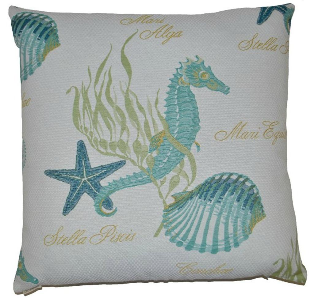 Aqua Seahorse Luxury Pillow - Pillow Front